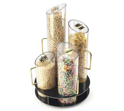 Cal-Mil 723 4-Cylinder Turn Table Cereal Dispenser w/ Black Base, 900-cu in