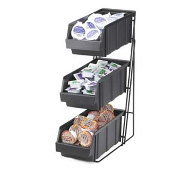 Cal-Mil 841 Condiment Caddy w/ 3-Polycarbonate Bins & Black Wire Rack Frame