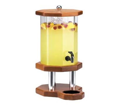 Cal-Mil 972-2-53 2-Gallon Octagon Beverage Dispenser w/ Ice Chamber, Light Wood Base