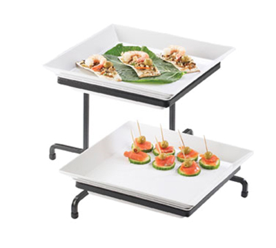 Cal-Mil CCSR2322-13 2-Tier Square Cold Concept Offset Display - Melamine, Black