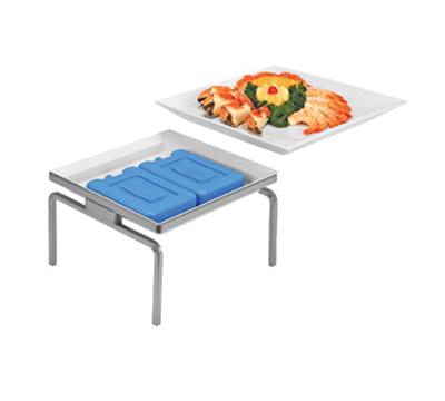 """Cal-Mil CP2303-4-39 1-Tier Square Cold Concept Platter Stand - 11x11x4"""", Porcelain, Platinum"""
