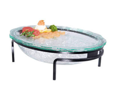 "Cal-Mil GL2410-13 Glacier Bowl Display - 19x14x4"", Green Oval Bowl, Black"