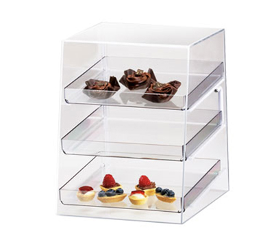 Cal-Mil P257 Countertop Display Case w/ Rear Door & 3-Removable Trays, Clear