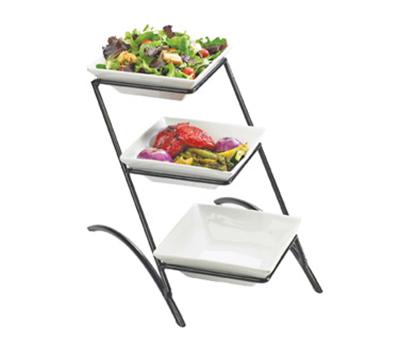 Cal-Mil PP307-13 3-Tier Gourmet Square Bowl Display - Porcelain, Black