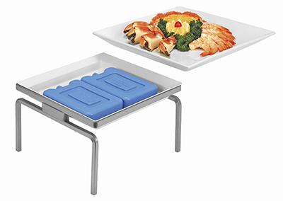 """Cal-Mil CP2303-7-39 1-Tier Square Cold Concept Platter Stand - 11x11x7"""", Porcelain, Platinum"""