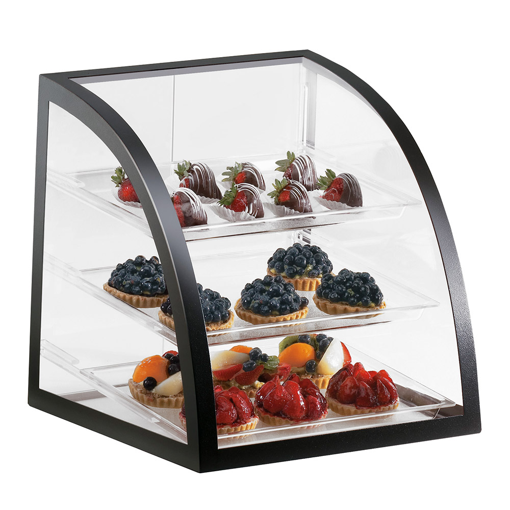 Cal-Mil P255-13 Countertop Display Case w/ Rear Door & Euro Front, Black Frame