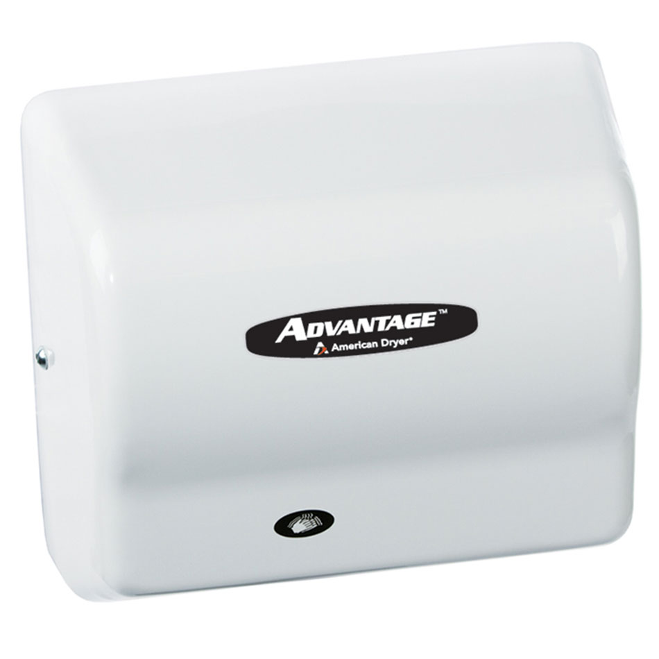 American Dryer AD90 Hand Dryer - Auto Sensor, 180-CFM/min, White ABS