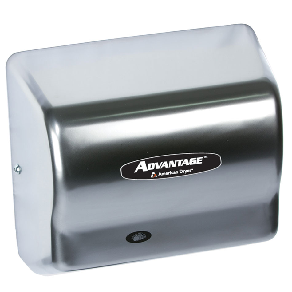 American Dryer AD90-C Hand Dryer - Auto Sensor, 180-CFM/min, Satin Chrome