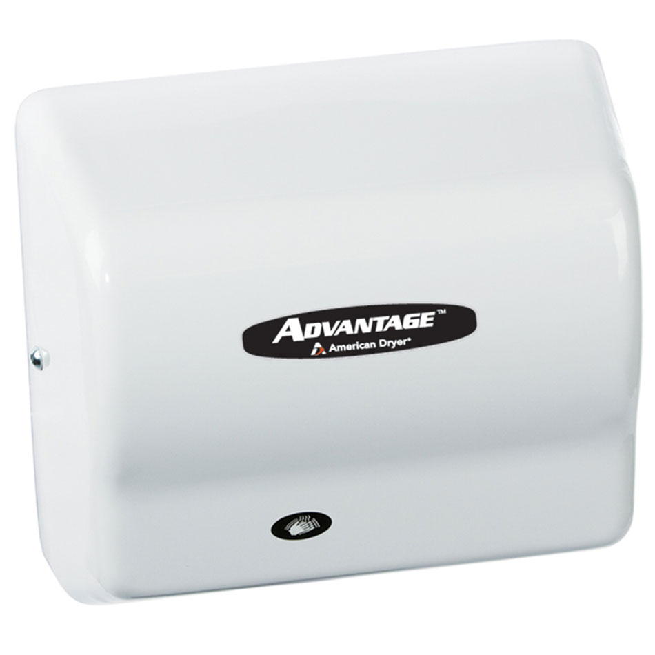 American Dryer AD90-M Hand Dryer - Auto Sensor, 180-CFM/min, White Steel