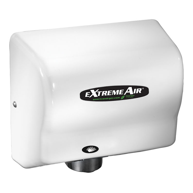 American Dryer GXT9 Hand Dryer - 10-12 Second Dry Time, Automatic Sensor, White ABS