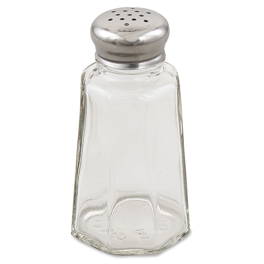 Browne Foodservice 156SP Salt & Pepper Shaker, 3 oz, Paneled Glass Jar, Stainles