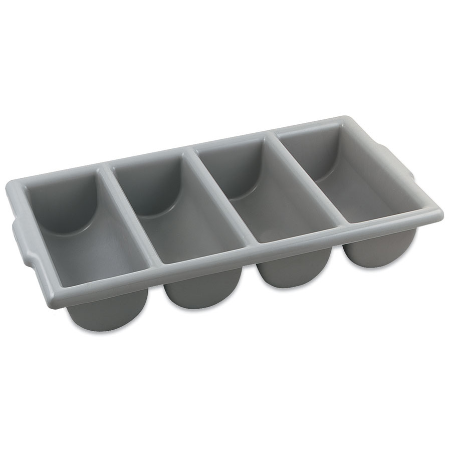 Browne Foodservice 1990 Cutlery Box, 4 Compartments, 22 x 12 x 4 in, Gray