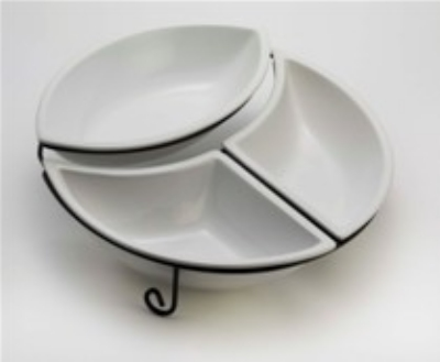 Browne Foodservice 563897 Fusion Ceramic Display: 3-Bowls & Wire Stand, Whi