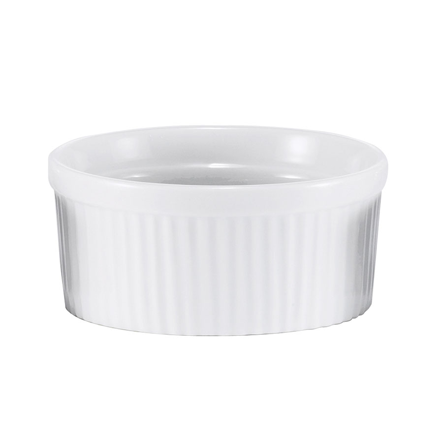 Browne Foodservice 564022W Ramekin, Ceramic, Ribbed, 9 oz, White