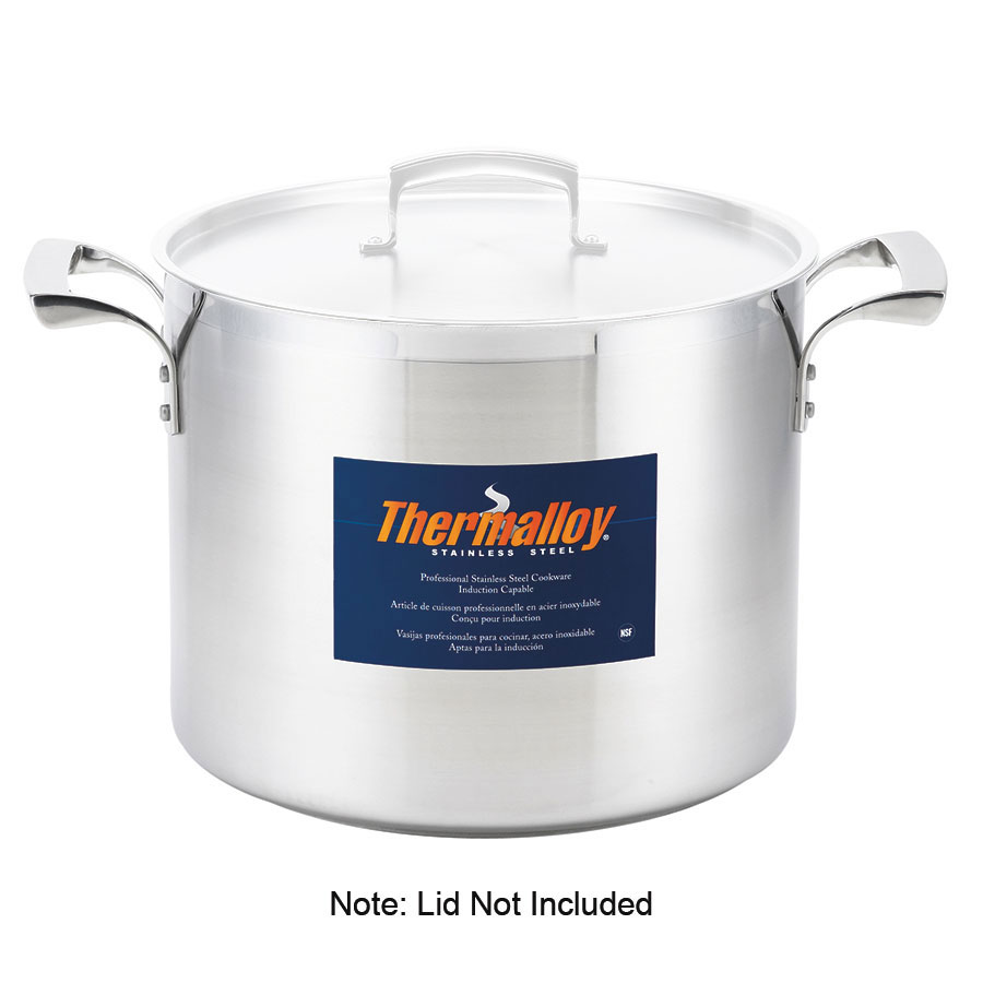 Browne Foodservice 5723960 Thermalloy Deep Stock Pot, 60 qt, 18/10 Stainless Steel, No Cover