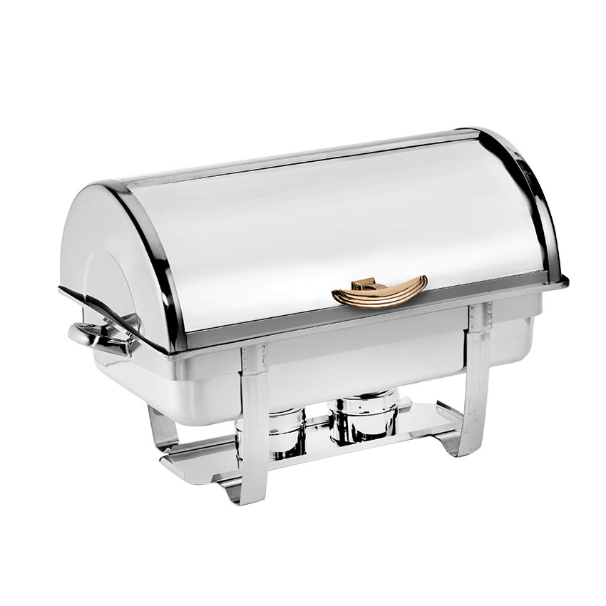 Browne Foodservice 575135 Full Size Roll Top Chafer, Mirror Stainless w/ Gold Tone Accents