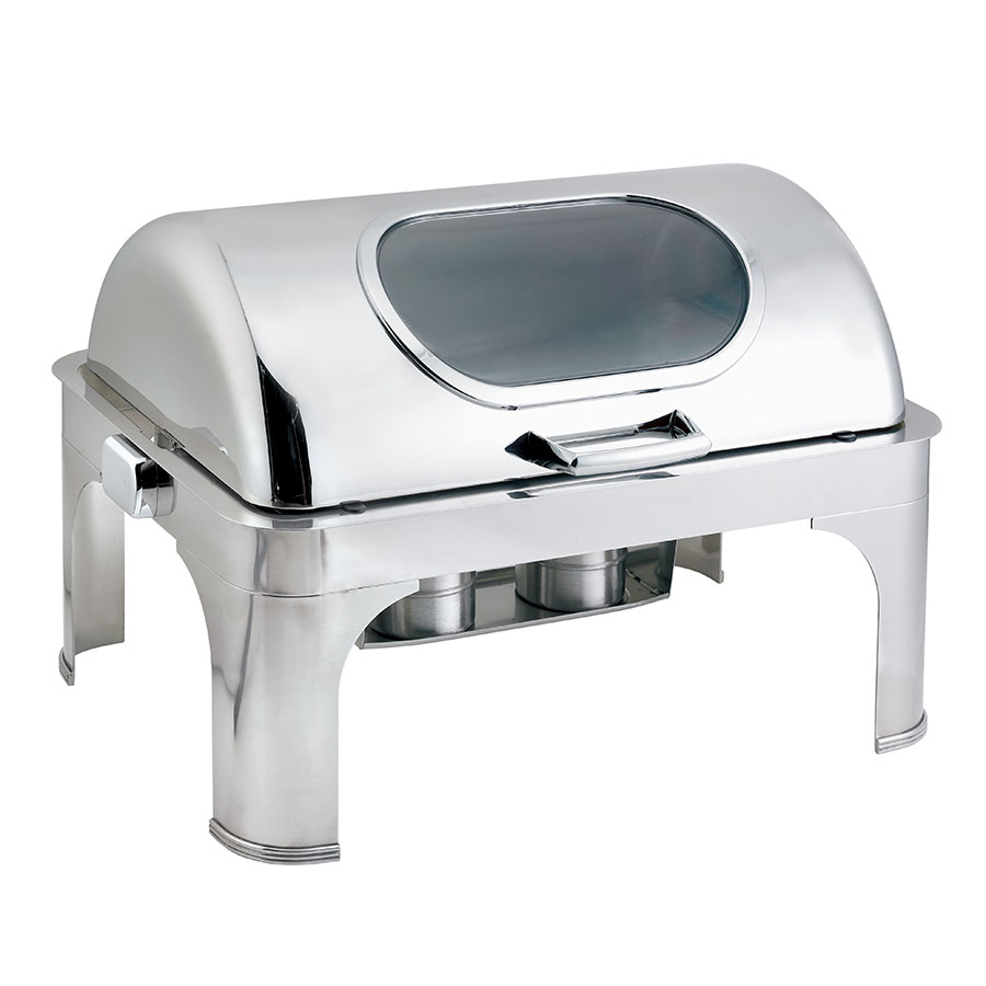 Browne Foodservice 575166 Full Size Roll Top Chafer, Stainless w/ Nautilus Window