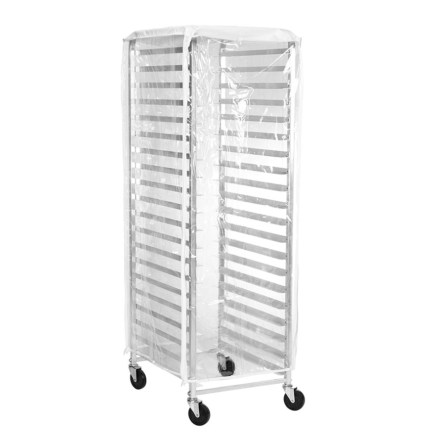 Browne Foodservice 57913400 Standard Duty Flame Resistant Rack Cover, End Load, Clear