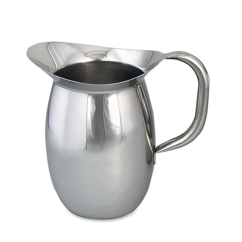 Browne Halco 8203 Bell Shaped Pitcher 3-1/8 qt capacity 18/8 Stainless Steel Tubular Handle Restaurant Supply