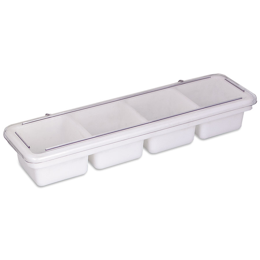 Browne Halco B35C Bar Caddy/Condiment Tray 4 Compartments each 4 x 4 in x 2-3/4 in with Cover Restaurant Supply