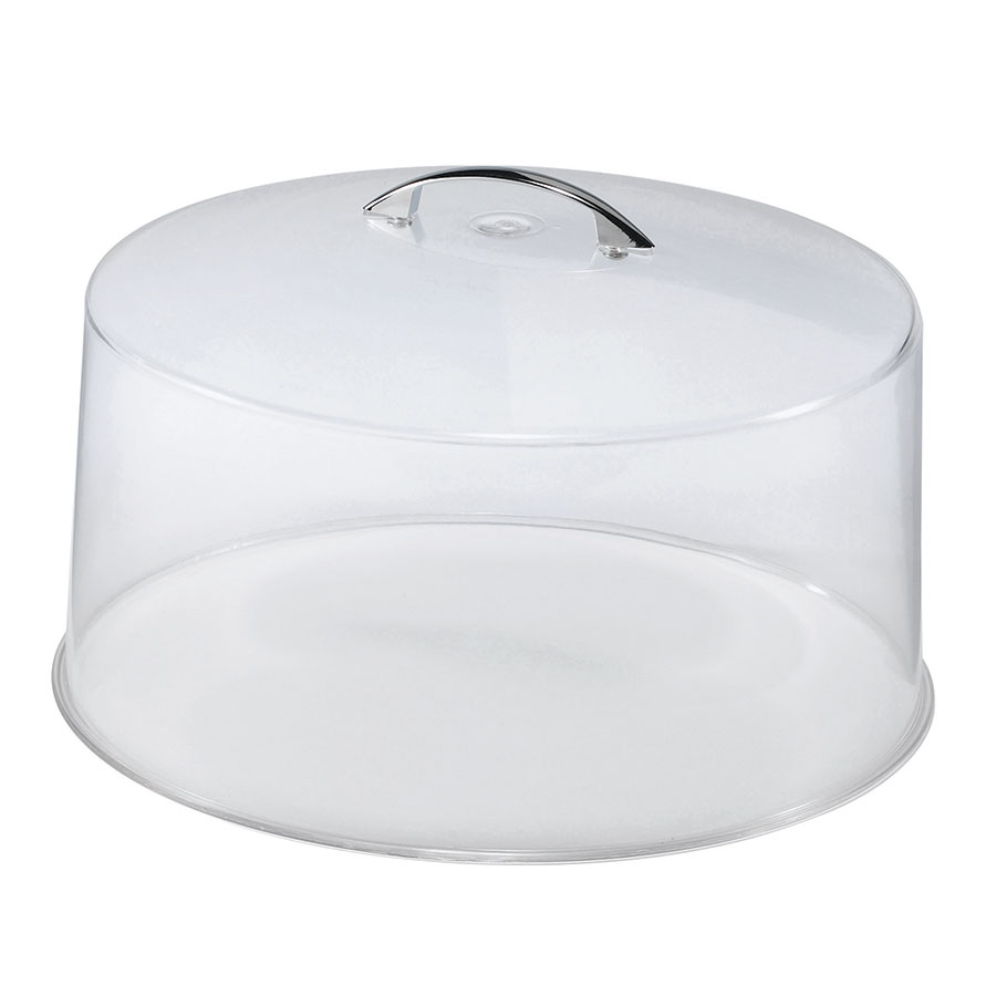 Browne Foodservice CK20512 12 in Round Cake Cover, Clear With Chrome Handle