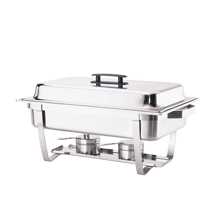Browne Foodservice HL725A Full Size Stainless Chafer w/ Built In Cover Holder