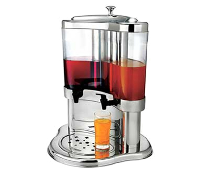 Browne Foodservice 575198 Juice Dispenser, 2-Ice Chambers, Two 5.3-qt Dispensers, Drip-Tray, Stainless