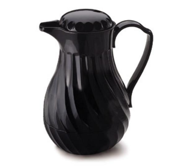 Browne Foodservice IP4022B40P Beverage Pitcher, 40 oz, Insulated, Plastic, Thumb Lever, Black