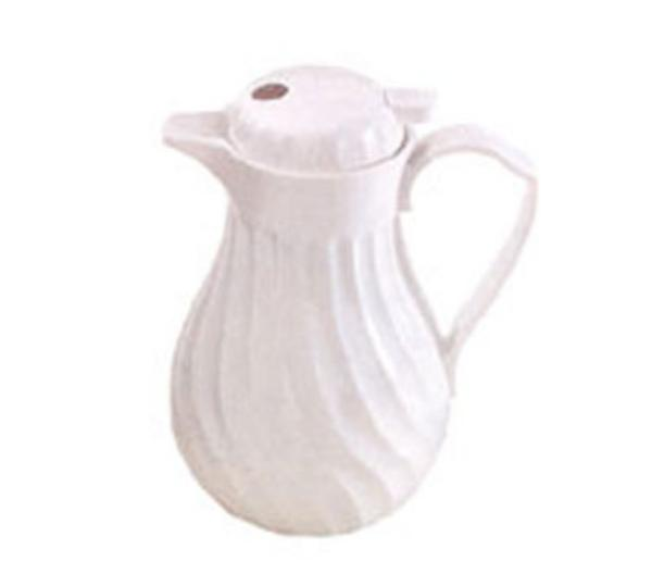 Browne Halco IP4022W20P Beverage Pitcher 20 oz Insulated Plastic Thumb Lever White Restaurant Supply