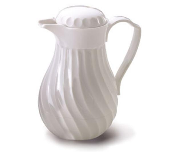 Browne Foodservice IP4022W40PB Beverage Pitcher, 40 oz, Insulated, Plastic, Thumb Lever, White