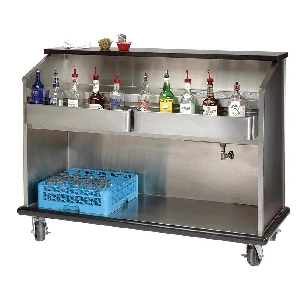 Supreme Metal AMS-5B Ambassador Series Portable Bar, 60 in Long, Open Storage