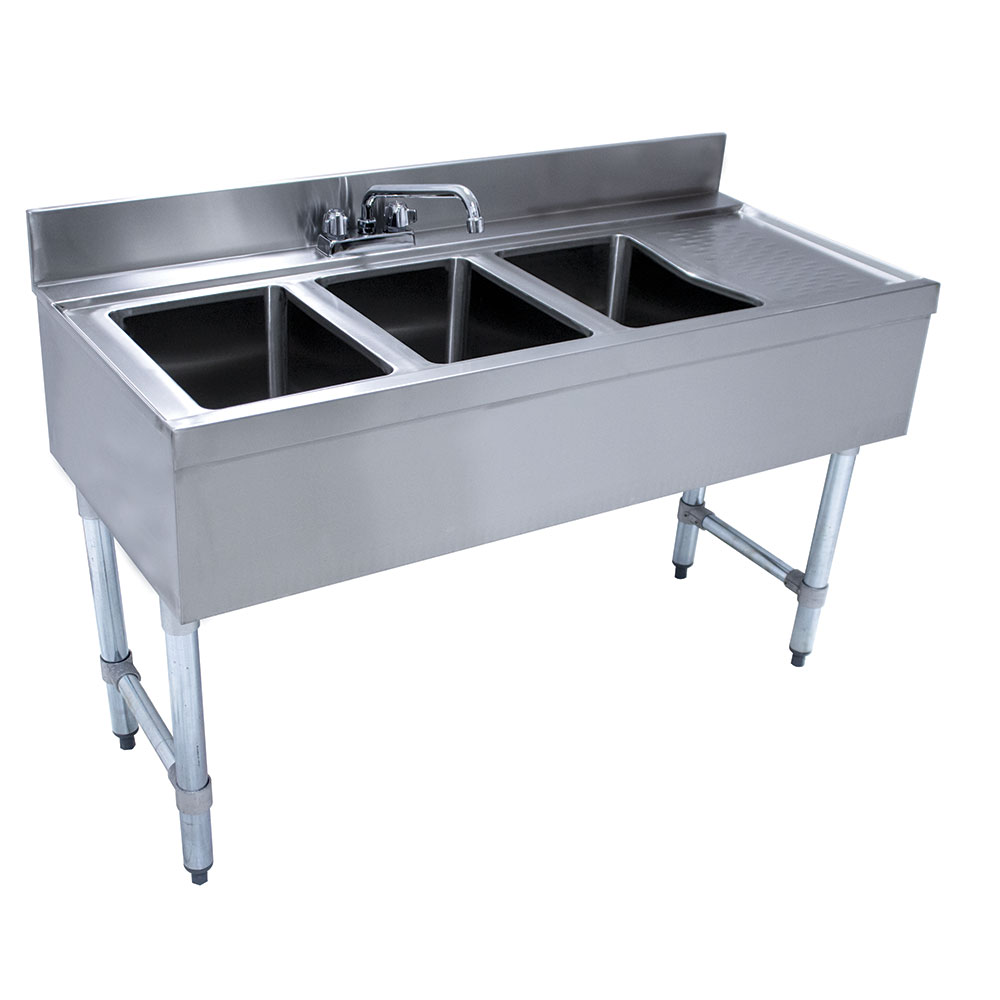 Supreme Metal CRB43L 48-in Underbar Work Board Sink Unit w/ 3-Compartments, Right Drainboard
