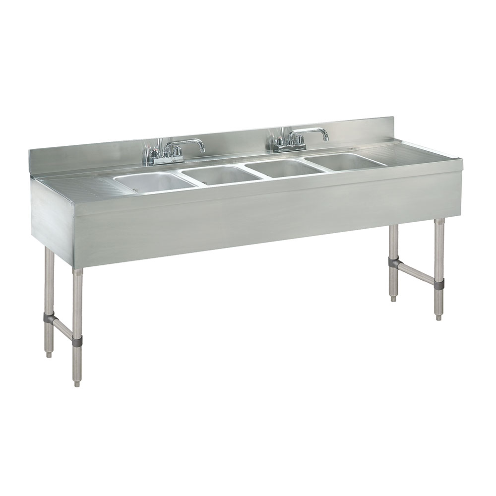 Supreme Metal SLB-74C Bar Sink - 7' - 4 Compartments - Slimline Series
