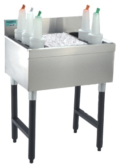 Supreme Metal CRJ-24 Cocktail Unit and Ice Bin, 24 in W x 21 in D Overall, 8 in D Bin