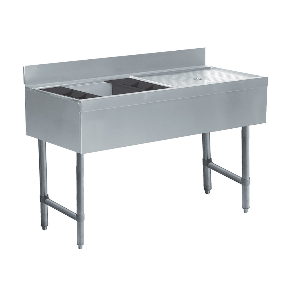 Supreme Metal CRW4L 47-in Ice Bin Cocktail Station w/ Right Drainboard, 75-lb Ice Capacity
