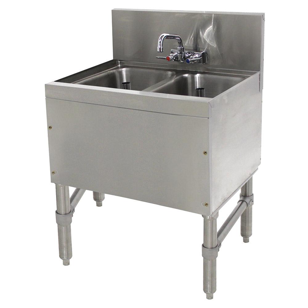 Supreme Metal PRB1922C 2-Compartment Bar Sink w/ Open Base & Splash Mount Faucet