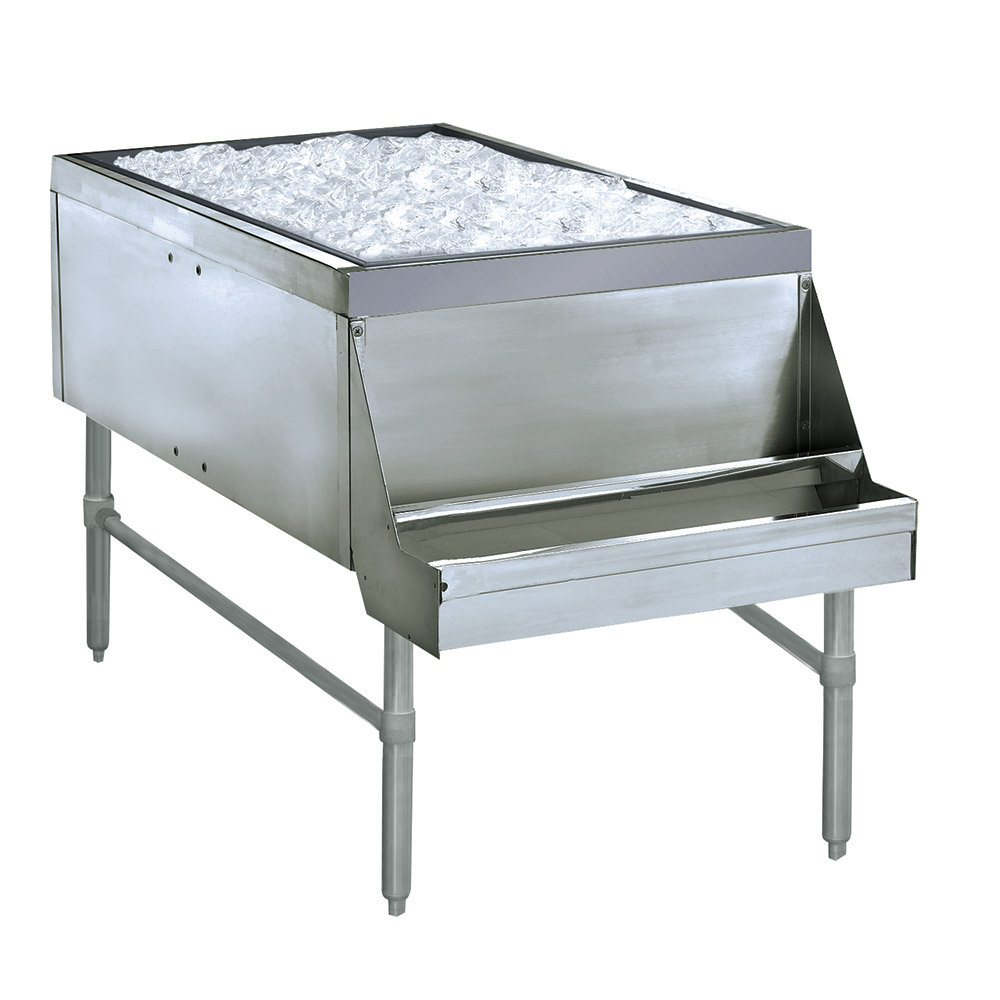 Supreme Metal PRPT-2442-10 24-in Pass Thru Ice Chest w/ 11-in Bin, Coldplate, 42-in Front To Back
