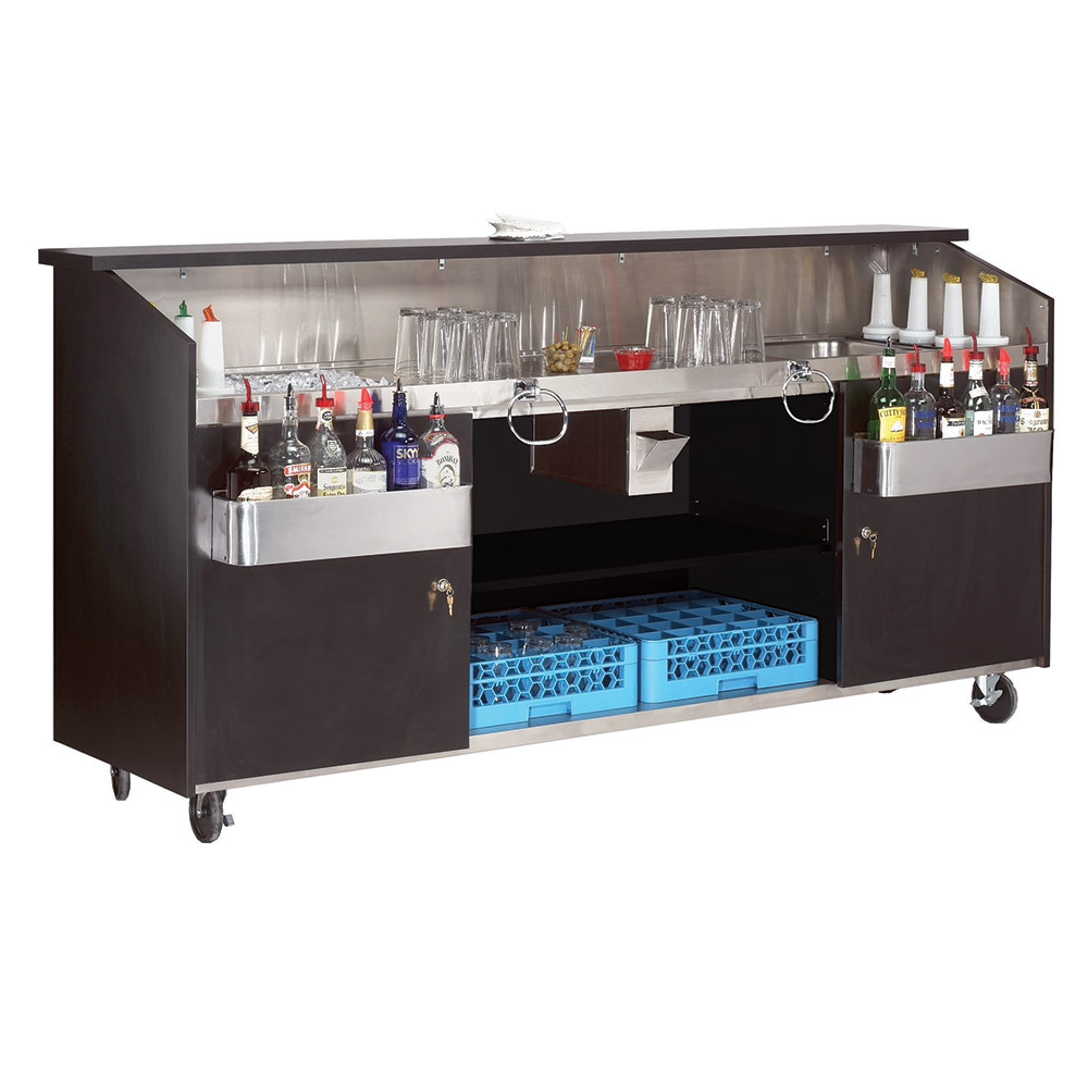 Supreme Metal R8B7 96-in Portable Bar w/ Twin Ice Bins, 7-Circuit Post Mix Cold Plate