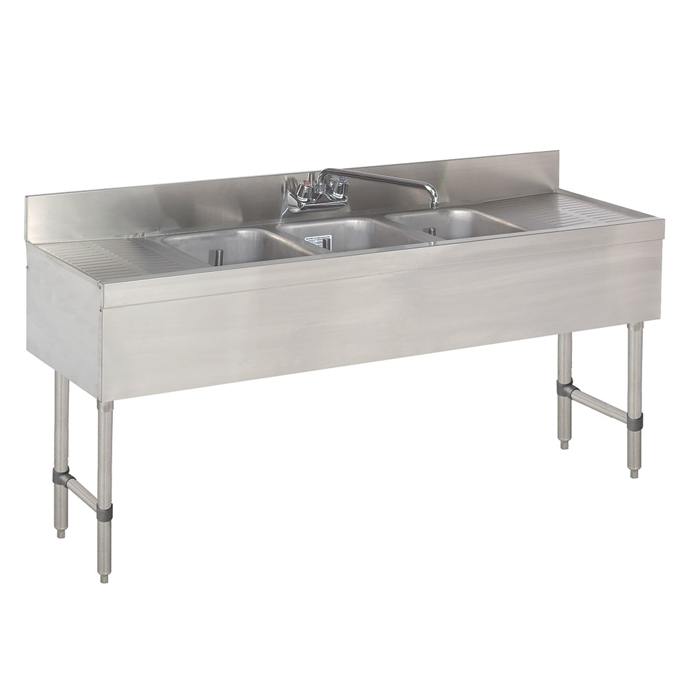 Supreme Metal CRB-63C-X Bar Sink, 6', 3 Compartments, Challenger Series