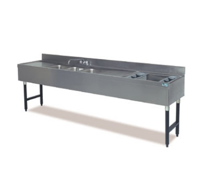 Supreme Metal CRC-84C-R 96-in Four Sink Compartment & 24-in Right Cocktail Station Combo
