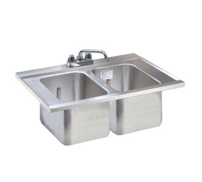 Supreme Metal DBS-2 24-in Drop-In Bar Sink w/ (2) 10-in Deepwells & Faucet