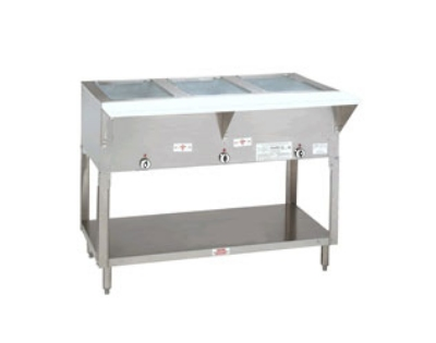 Supreme Metal HF-2G-NAT 34-in Hot Food Table w/ 2-Wells, Open Base w/ Undershelf, NG