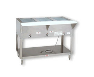 Supreme Metal HF-3E-120-X 34-in Hot Food Table w/ 3-Wells, Open Stainless Base w/ Undershelf