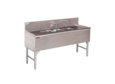 Supreme Metal PRB-24-42R 48-in Bar Sink w/ 2-Compartments, 23-in Left-Hand Drainboard, Deck Mount