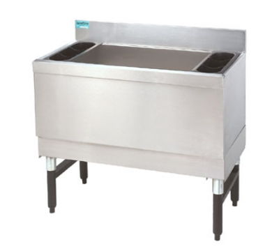 Supreme Metal SLI-16-24 24-in Slimline Cocktail Unit, 16-in Chest w/ False Bottom, 150-lb Ice
