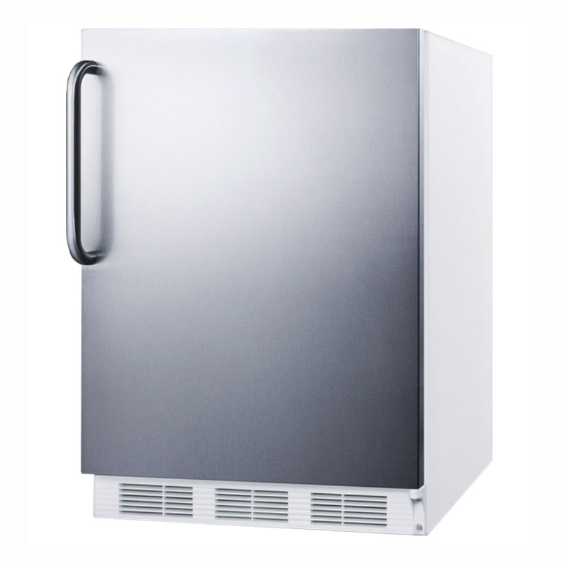 Summit Refrigeration AL650SSTB Undercounter Refrigerator Freezer w/ Interior Light & Cycle Defrost, White, 5.3-cu ft, ADA