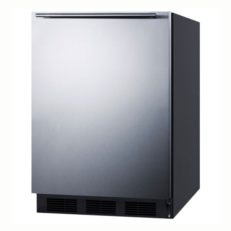 Summit Refrigeration AL752BSSHH Undercounter Refrigerator w/ Adjustable Glass Shelves & Auto Defrost, Black, 5.5-cu ft, ADA