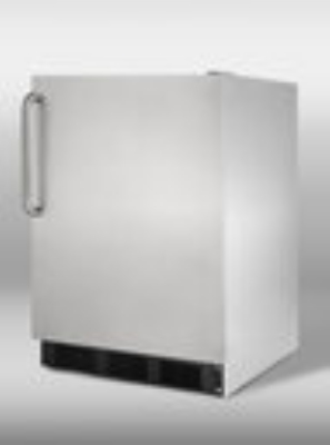 Summit Refrigeration ALB753BCSS Undercounter Refrigerator w/ Horizontal Handle & Auto Defrost, Black, 5.5-cu ft, ADA