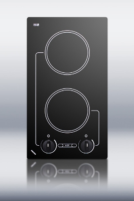 Summit Refrigeration B41602 2-Burner Cooktop w/ Indicator Light & Beveled Edges, Ceramic, Black