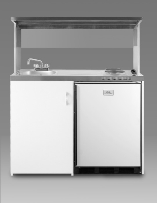 Summit Refrigeration C48APSS 48-in White Kitchenette w/ Stainless Shelf Cycle Defrost Freezer Restaurant Supply